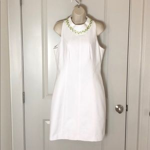 Ted Baker London White Dress w/ attached necklace
